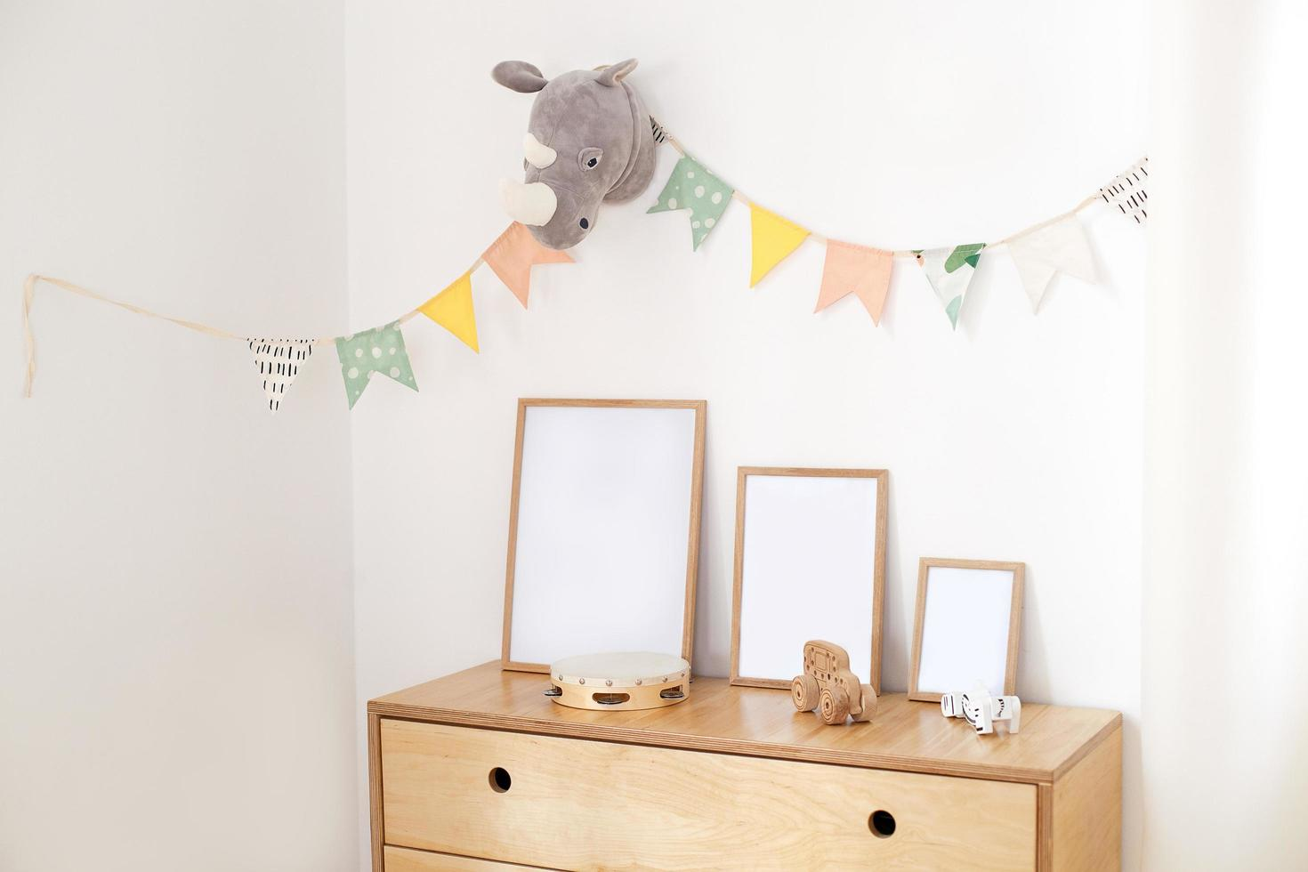 Wooden eco toys in children's room photo