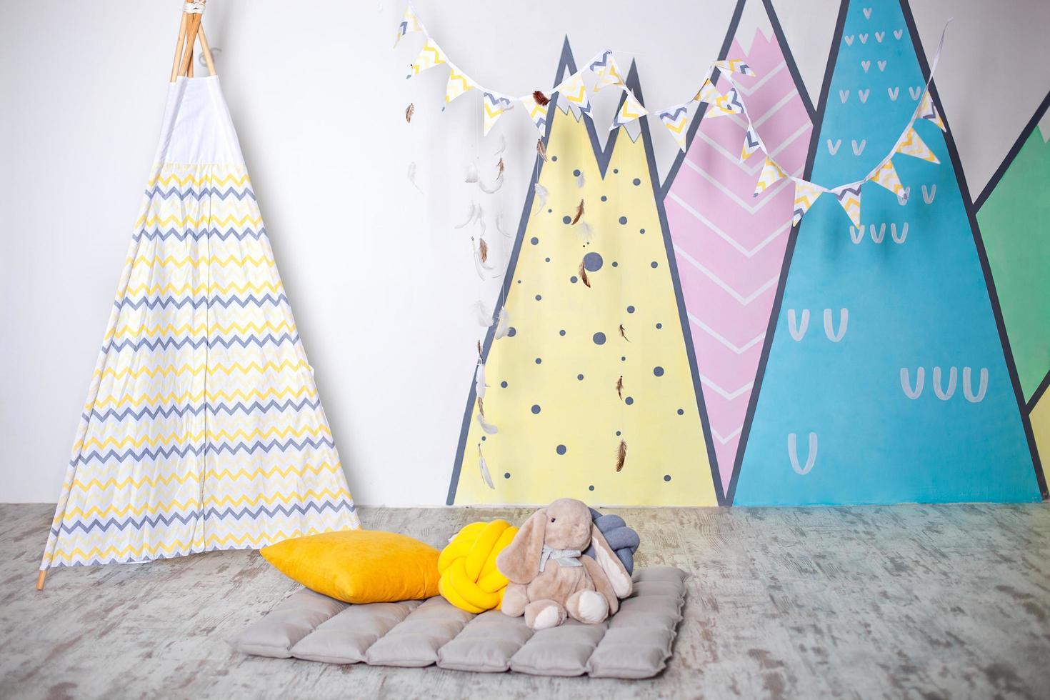 Stylish white modern kids room photo