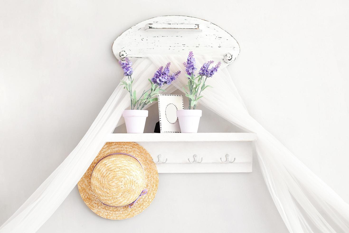 Shabby chic decor in Provencal style.  photo