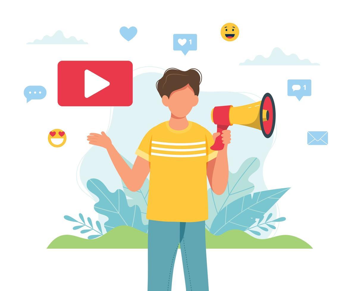 video blogger masculino haciendo anuncio con megáfono vector