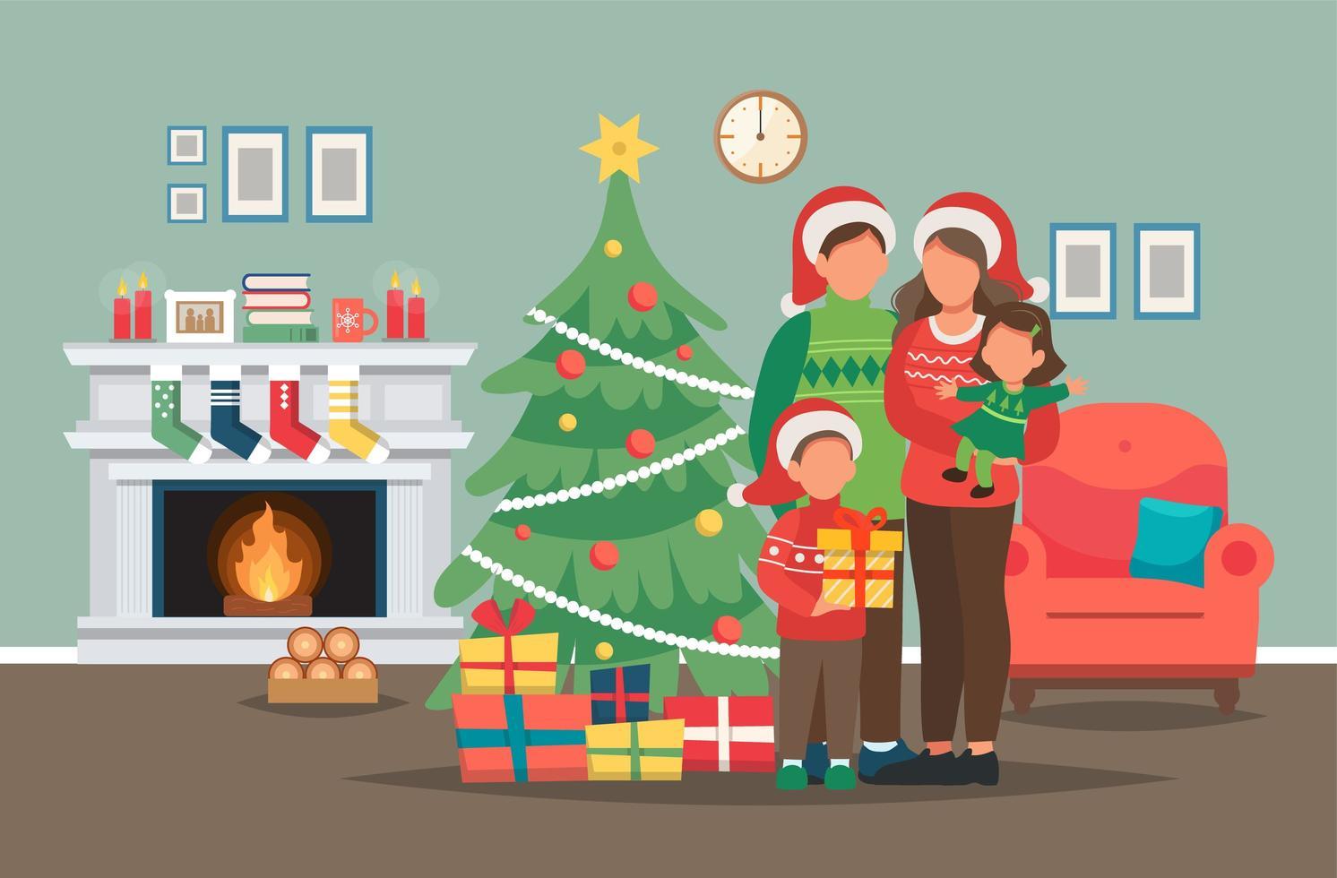 familia posando con árbol de navidad vector