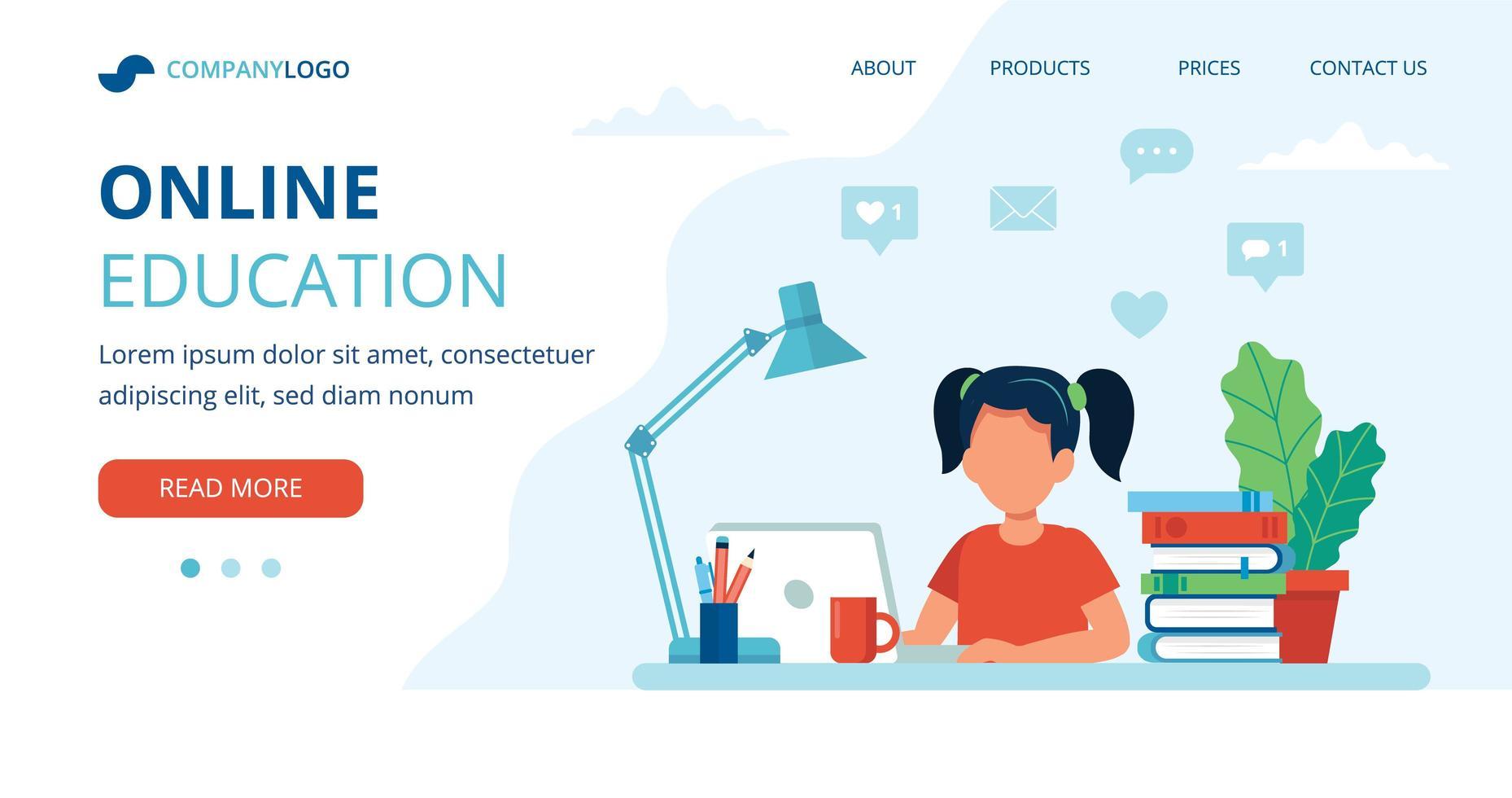 landing page de educação on-line com menina estudando vetor