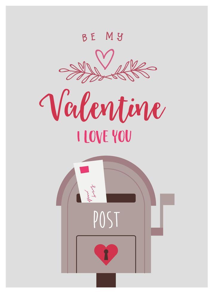 saludo de San Valentín con carta de amor en el buzón vector