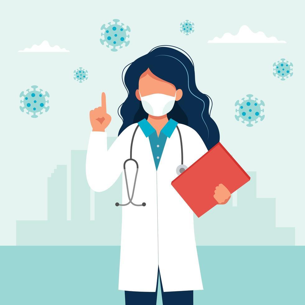 Doctora con una máscara médica vector