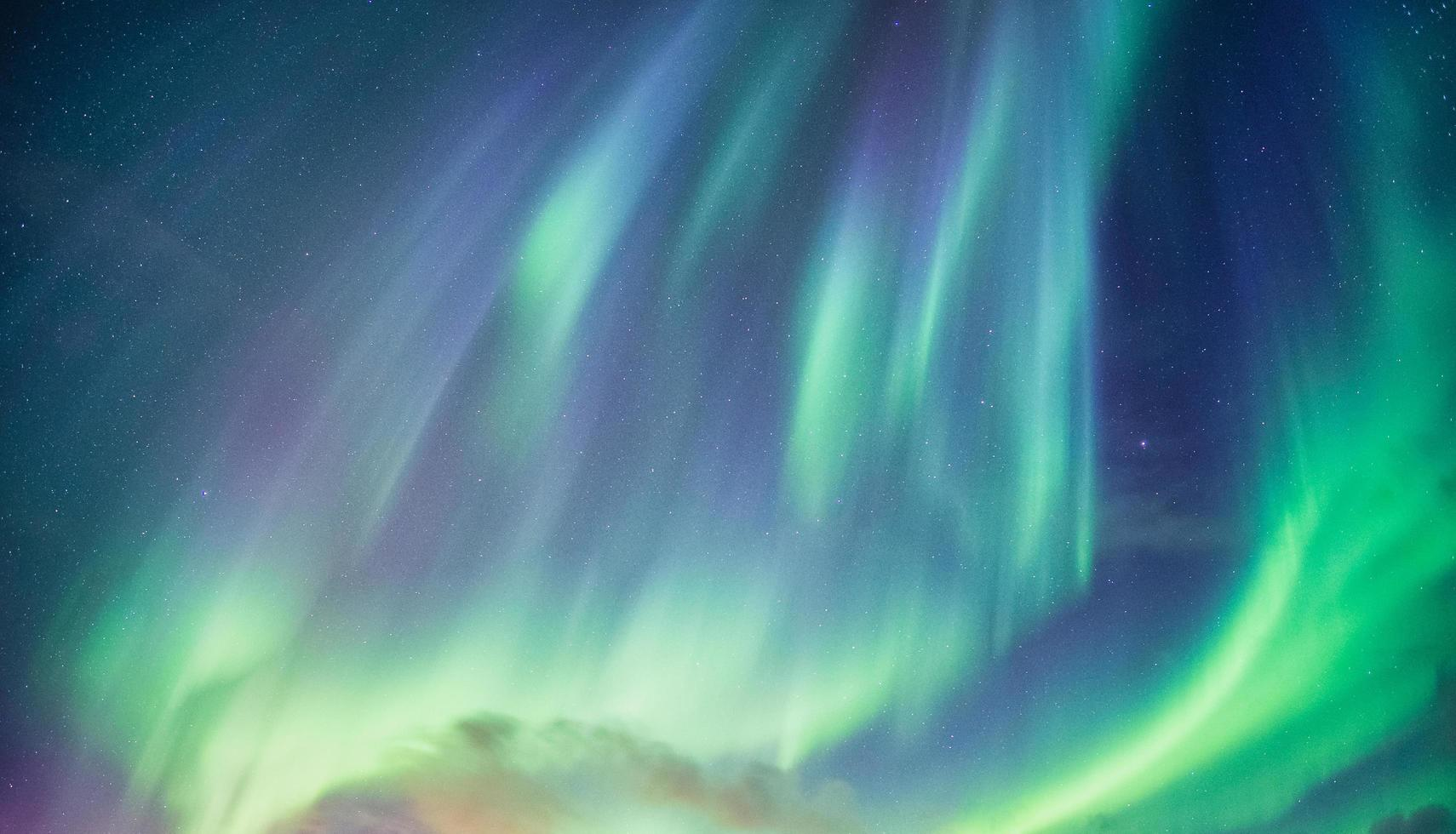 Beautiful green aurora borealis  photo