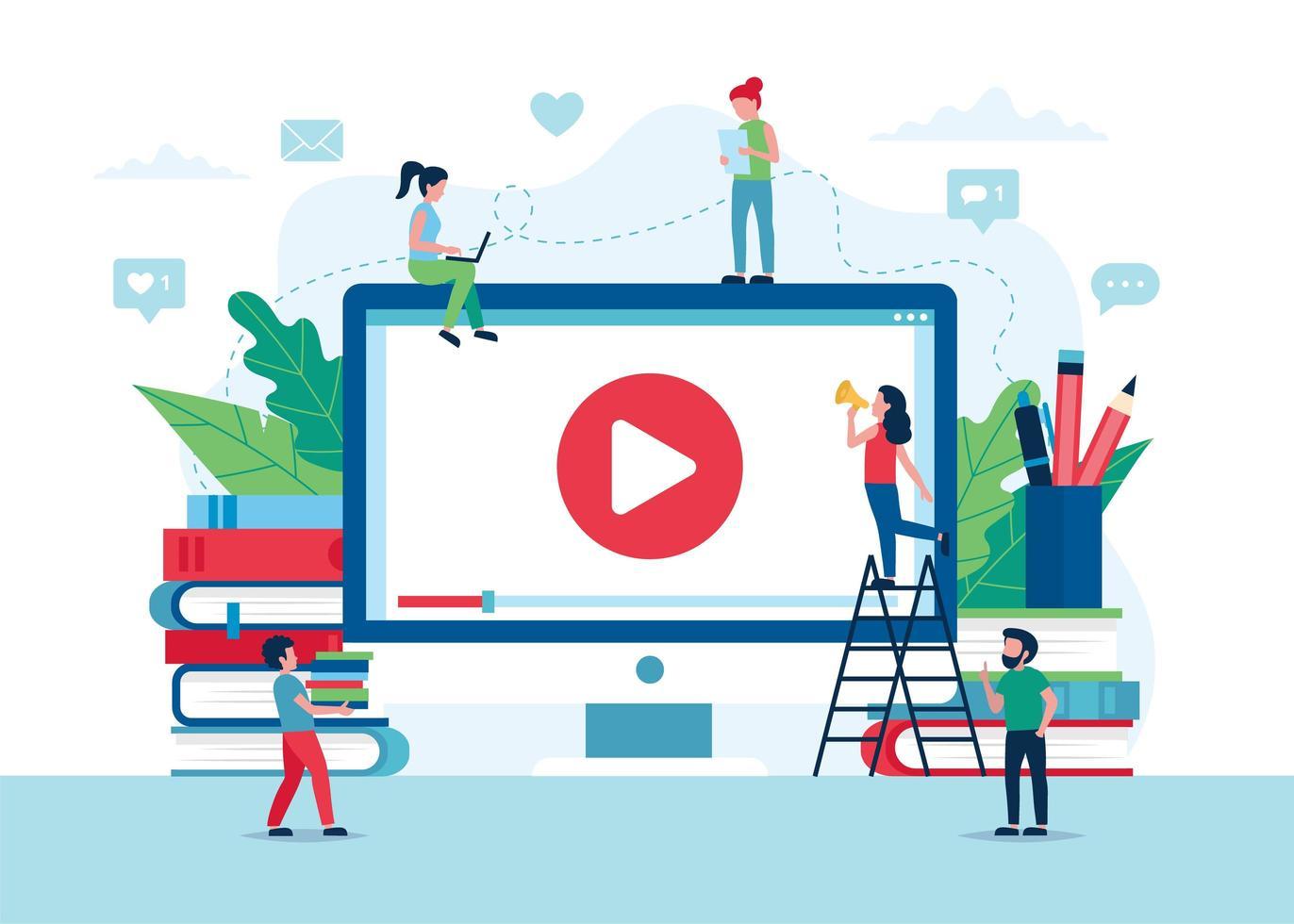 pantalla de educación en línea con video, libros y lápices vector