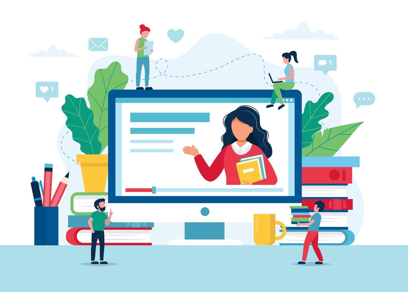 pantalla de educación en línea con profesor, libros y lápices vector