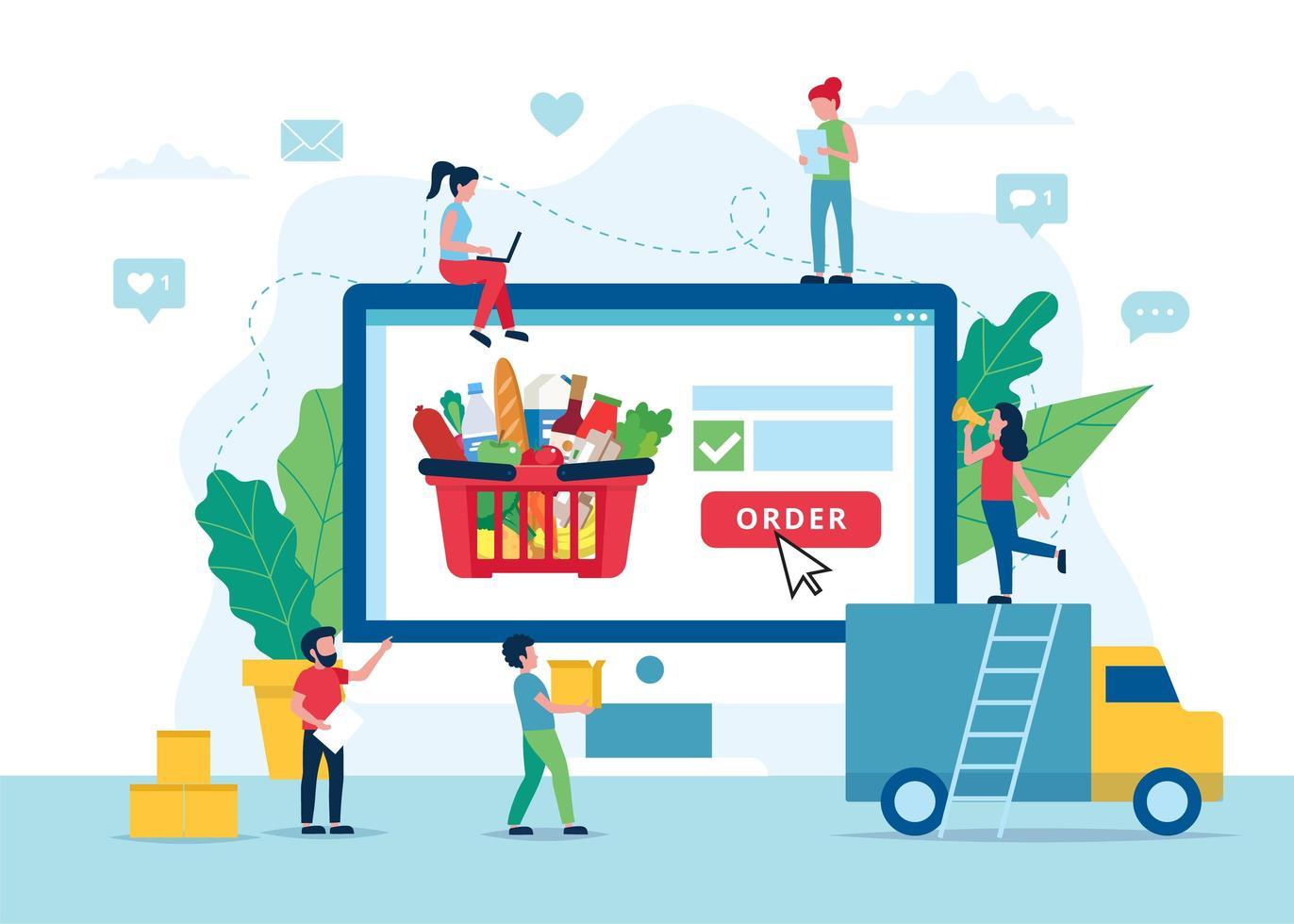 concepto de entrega de comestibles en línea vector