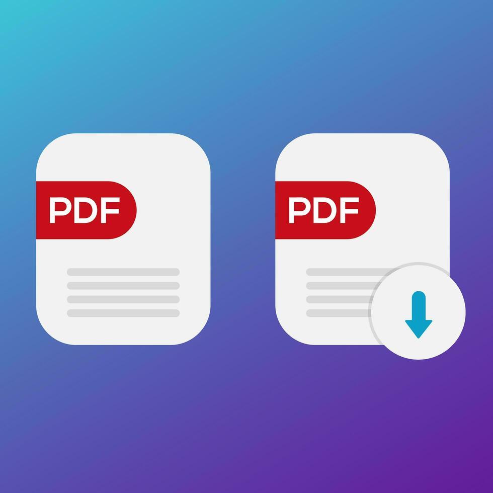 PDF book download  icon set vector