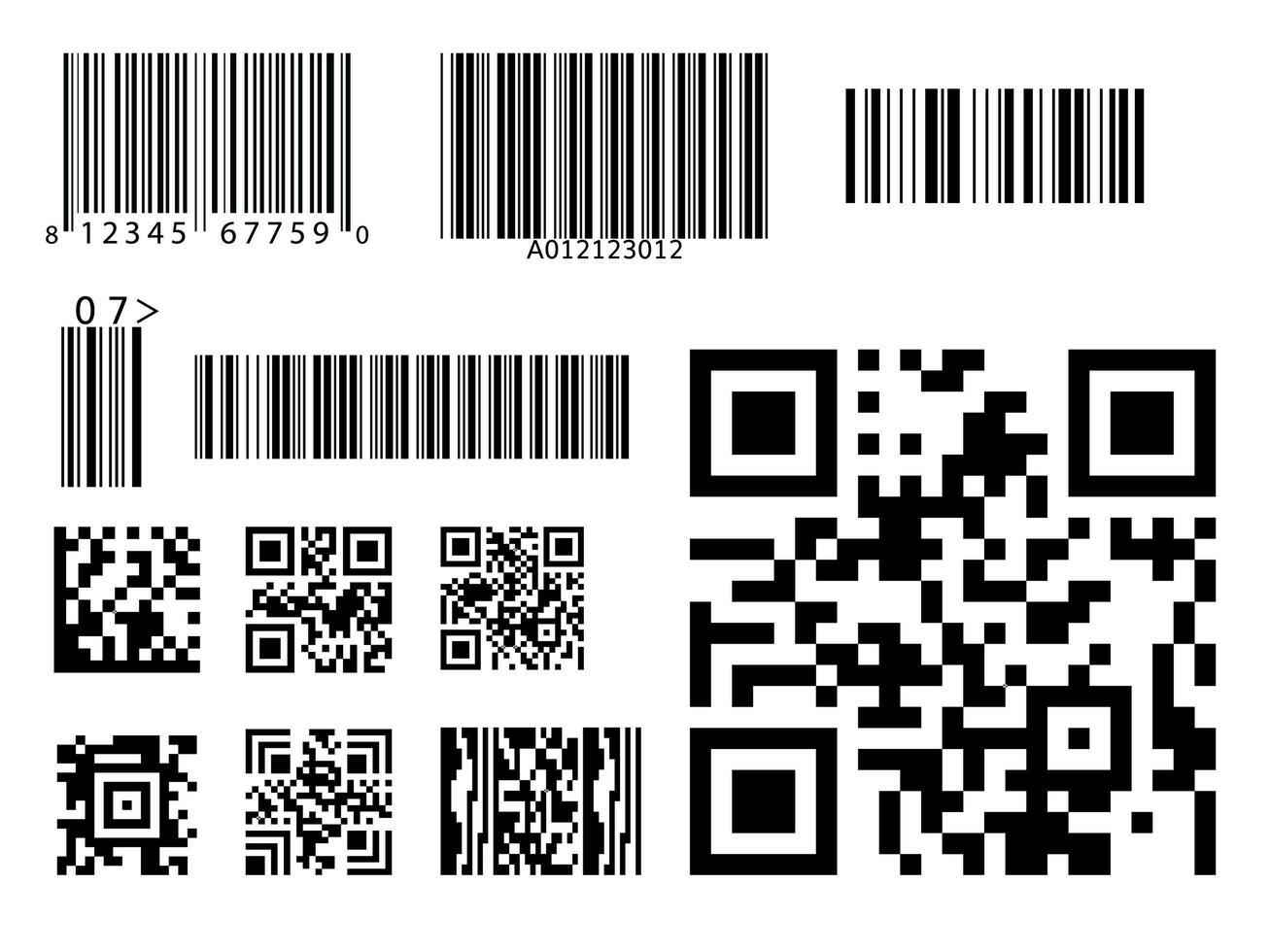 conjunto de símbolos de código de código de barras qr vector