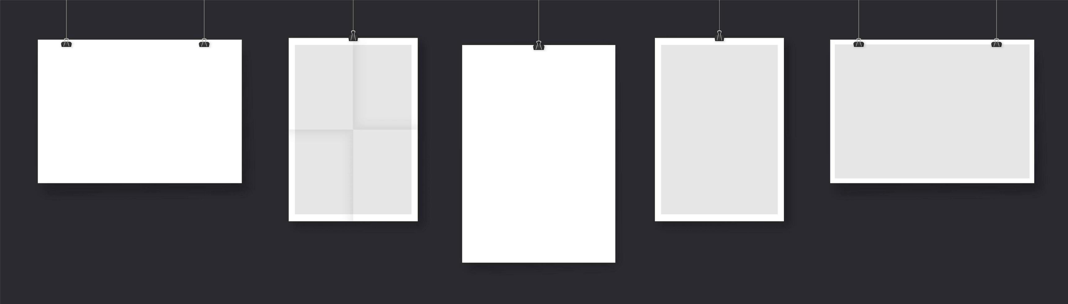 colección de tarjetas de papel colgando de cuerdas vector