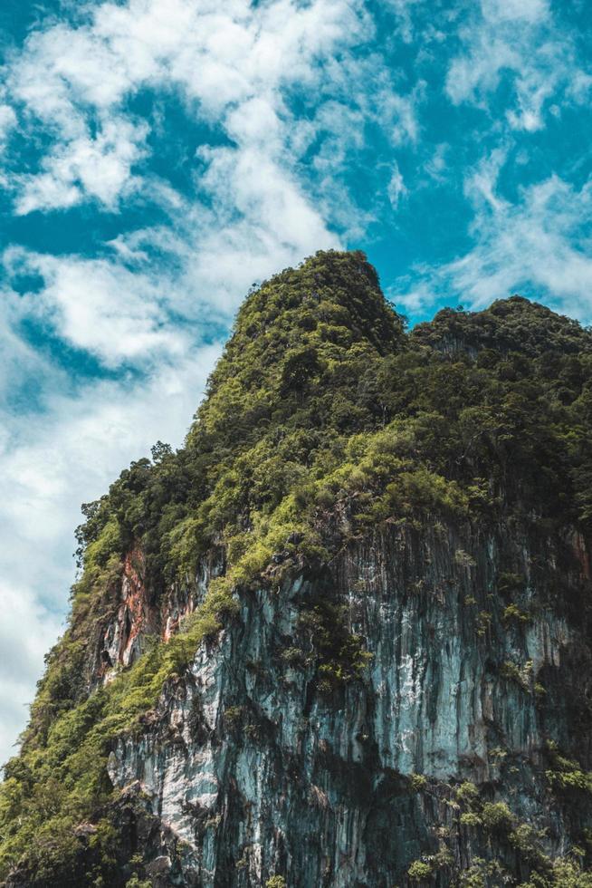 Island cliff  under blue skies in Thailand photo