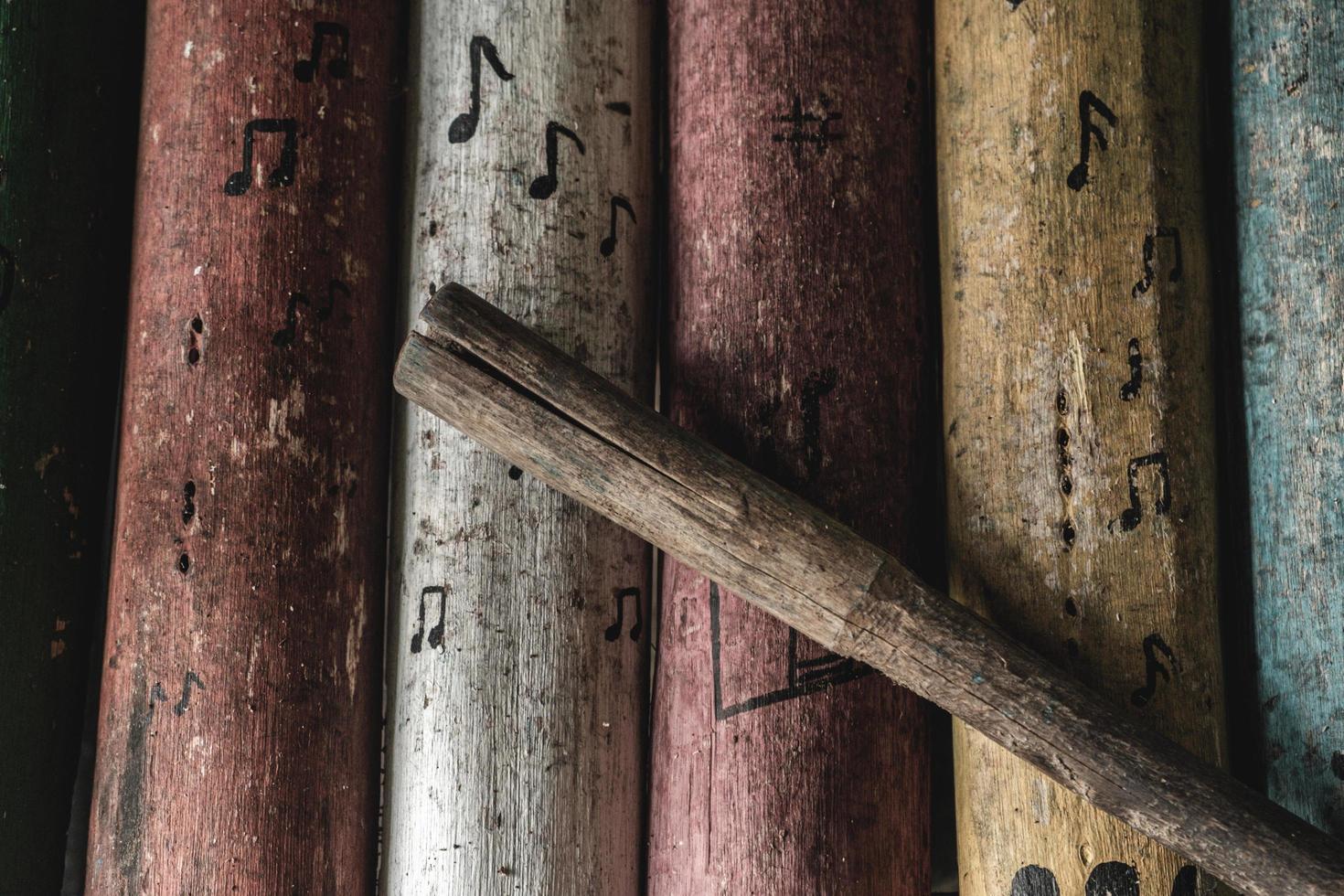 Traditional vintage handmade wood instruments photo