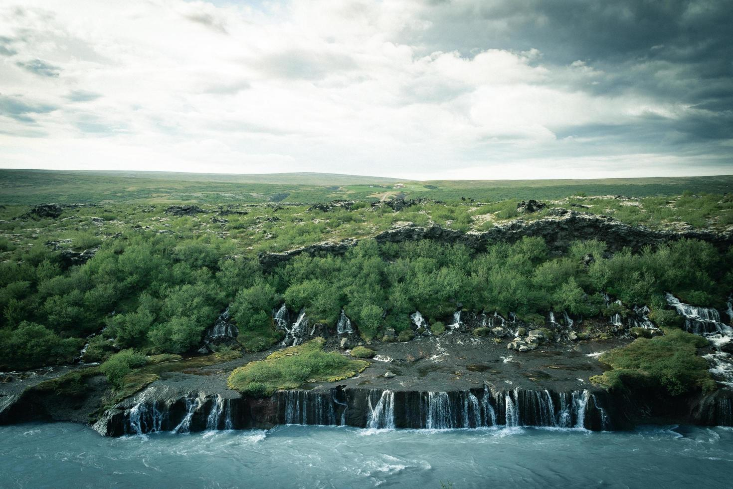 Aerial view of small waterfalls in Iceland  photo