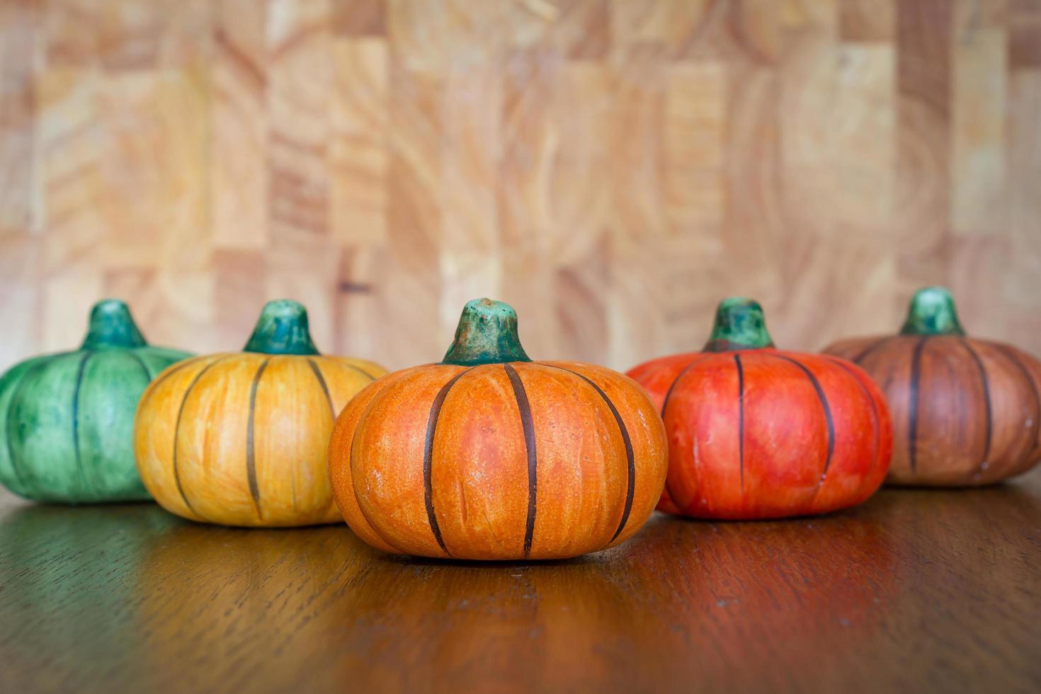 Five ceramic pumpkins photo