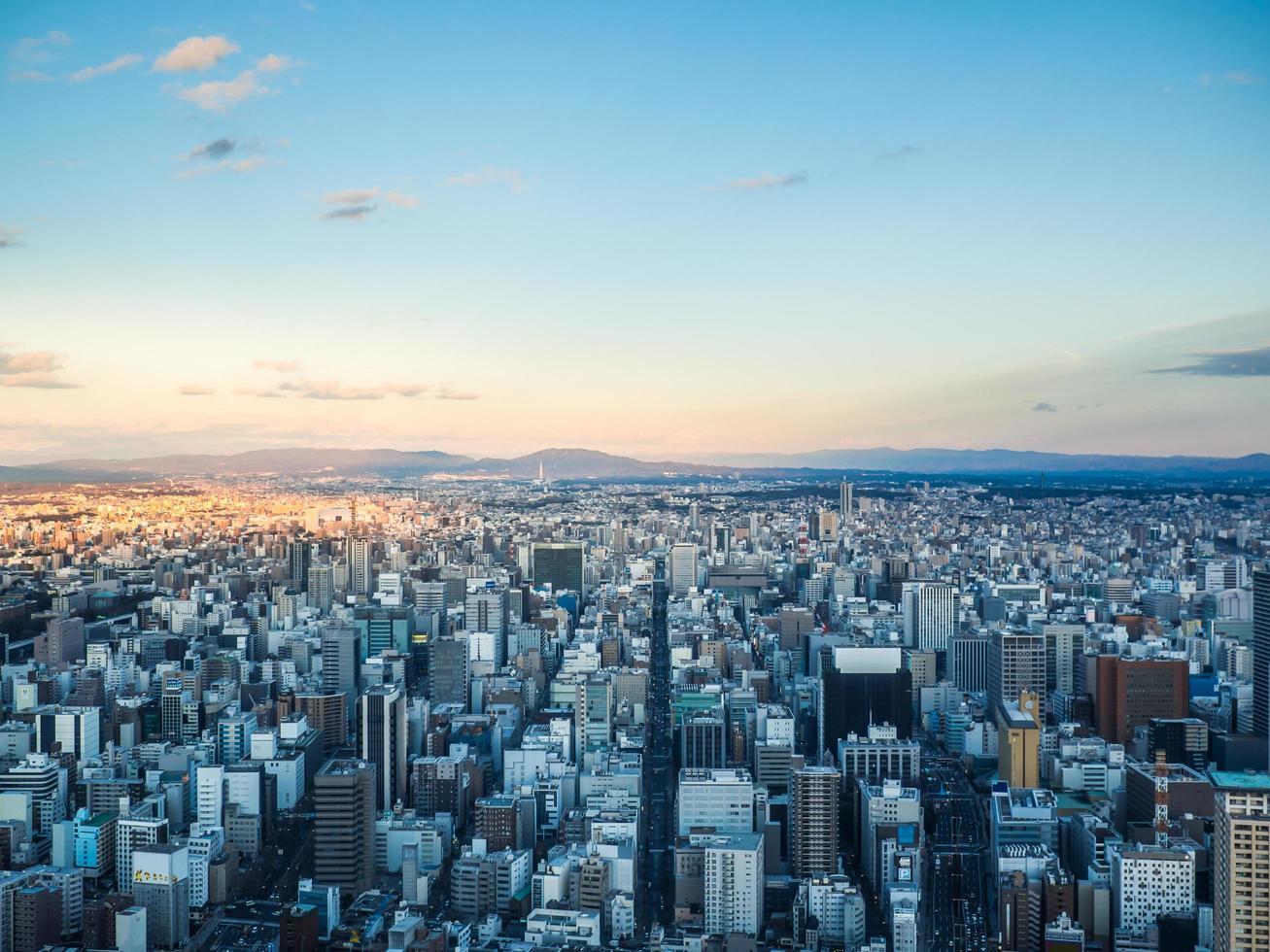 Vista aérea de la ciudad de Nagoya en Japón foto
