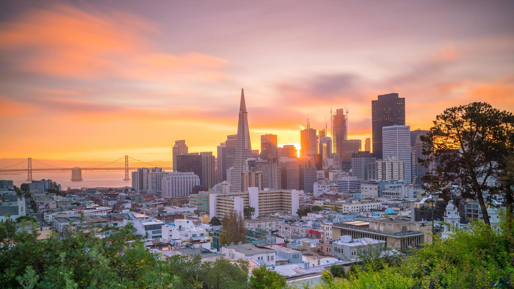 Sunset view of downtown San Francisco photo