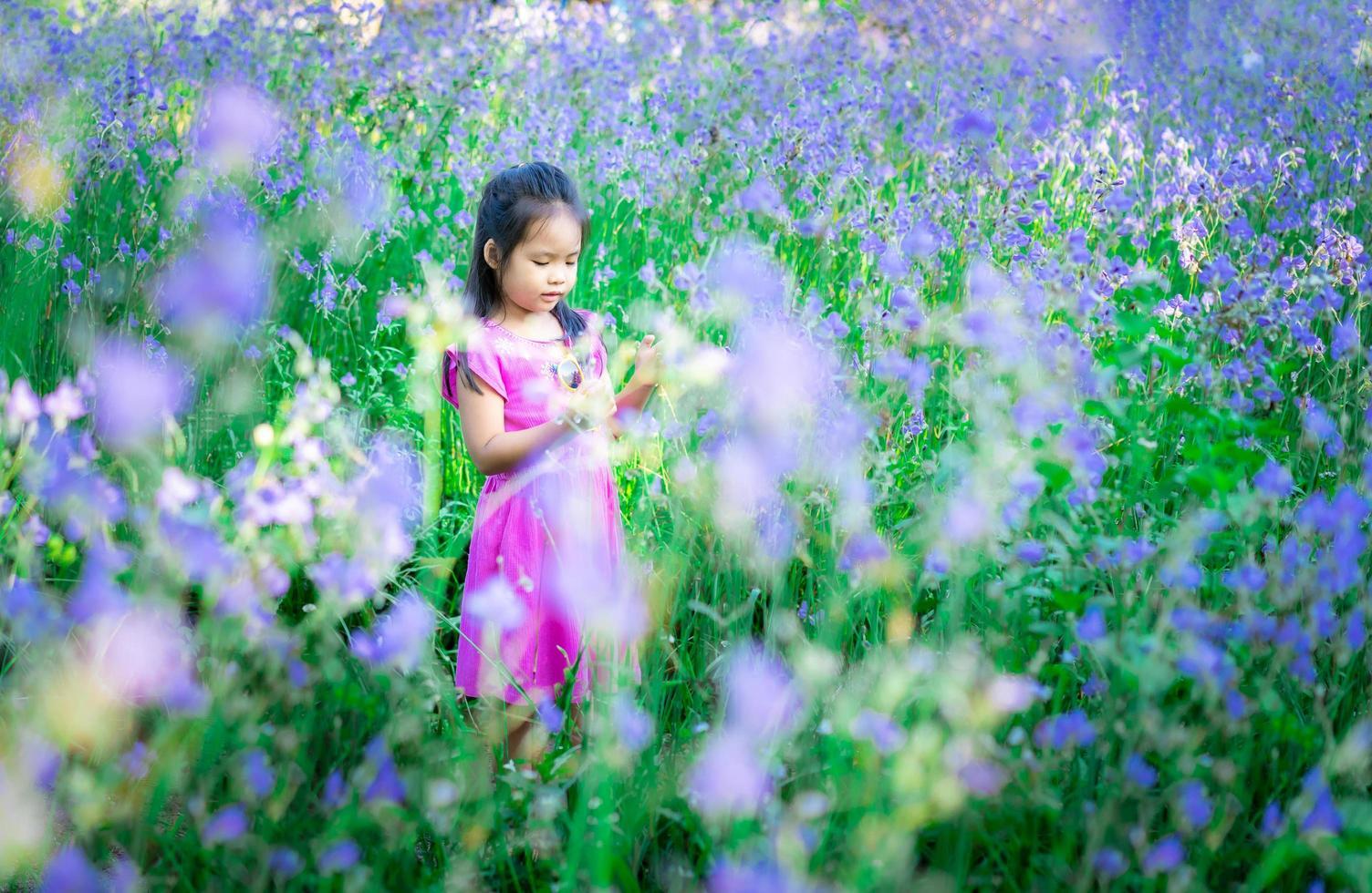 Happy little Asian girl in flower garden  photo