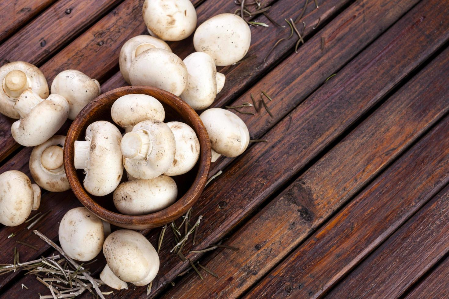 Mushroom heap on wood background photo