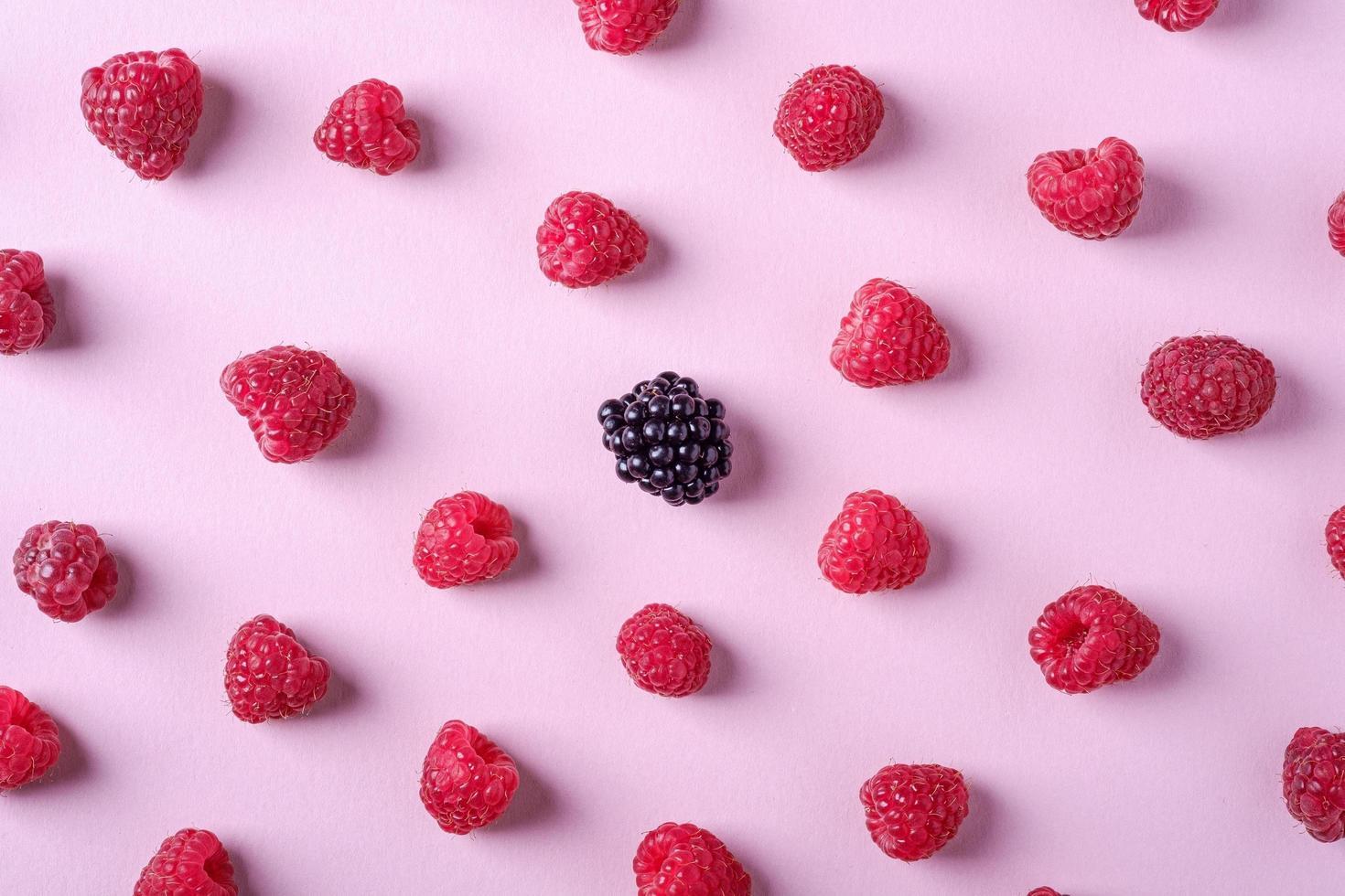 Raspberry sweet organic juicy berries with single blackberry photo