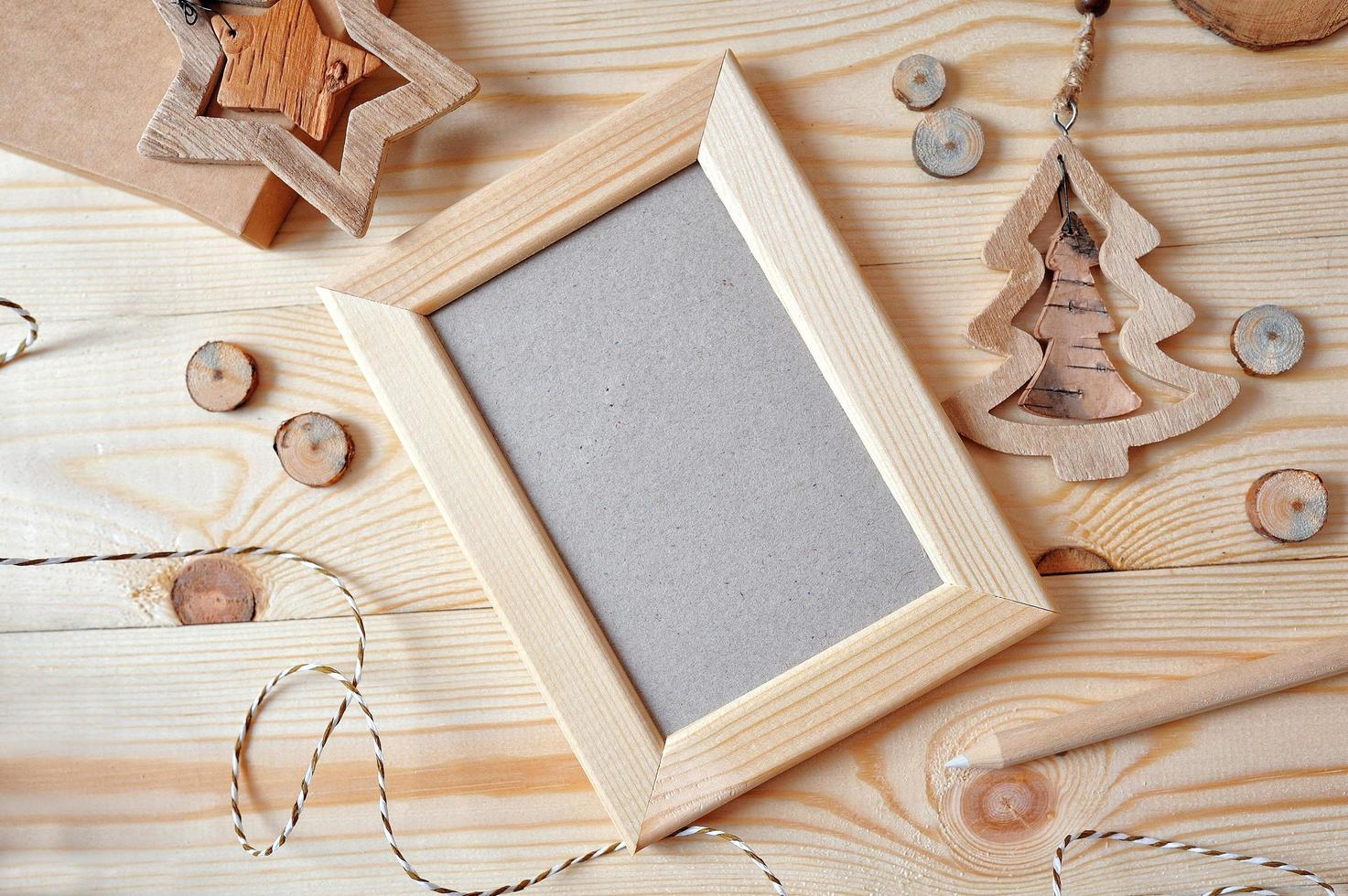 Christmas background with a wooden frame and a star  photo