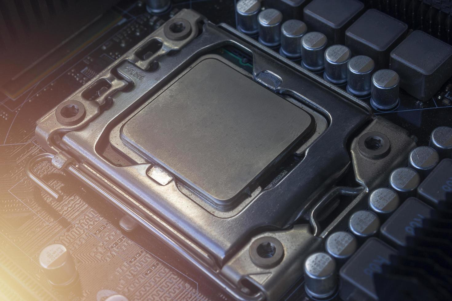 A cpu socket on motherboard PC  photo