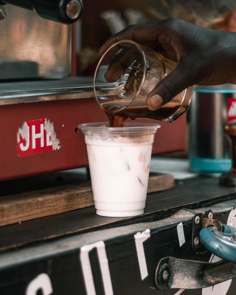 Man makes iced coffee photo