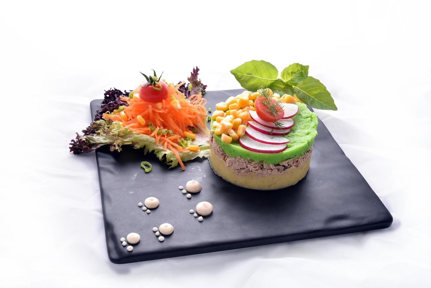 Tuna with mashed potatoes photo