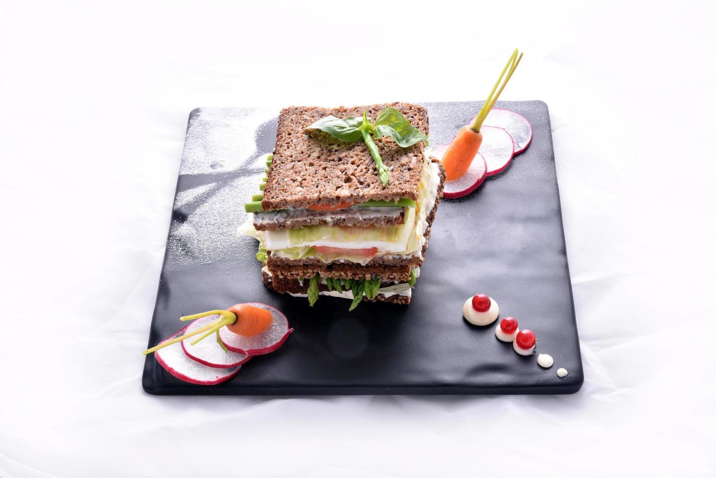 Asparagus sandwich with vegetables photo