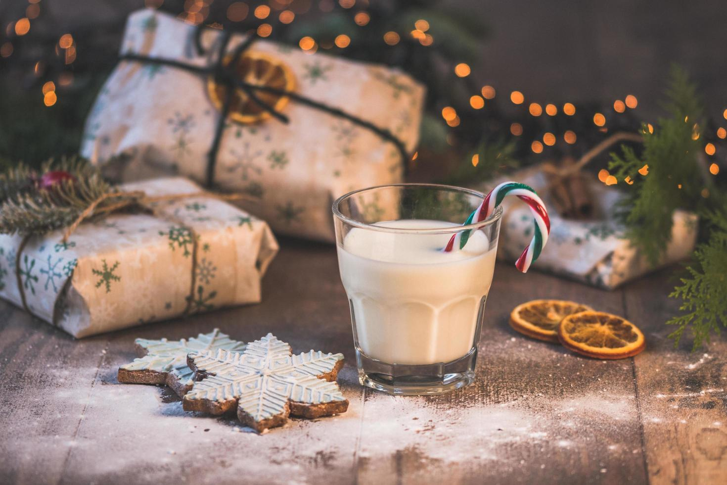 Winter holiday cookies and milk photo