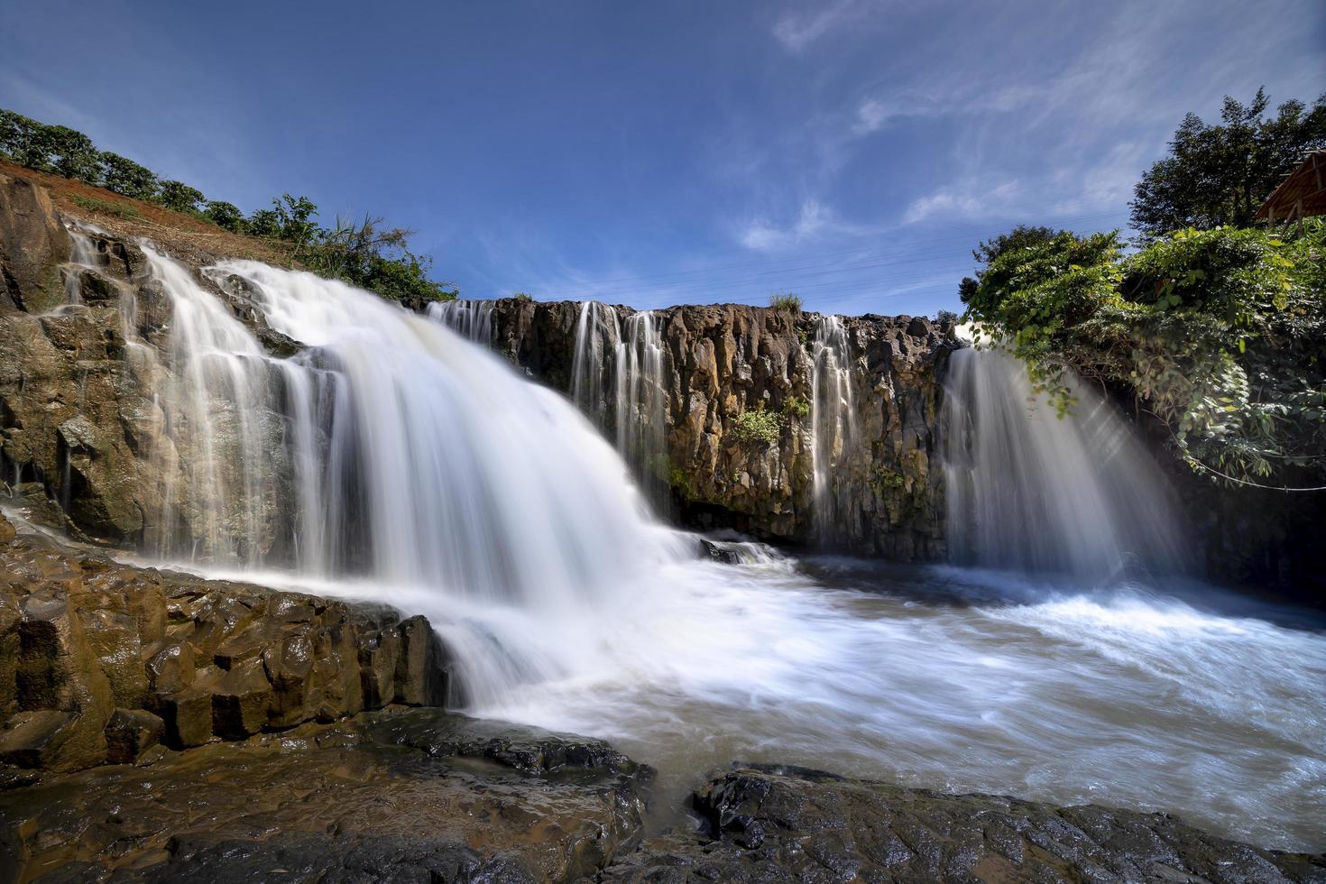 Waterfalls under blue sky photo