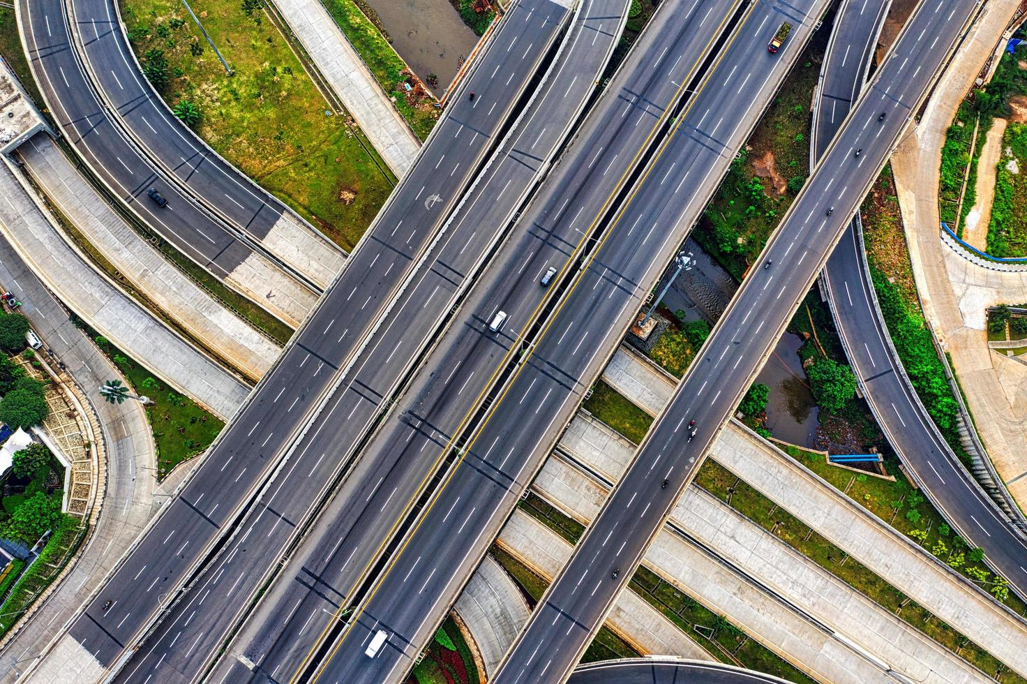 Aerial view of highway  photo