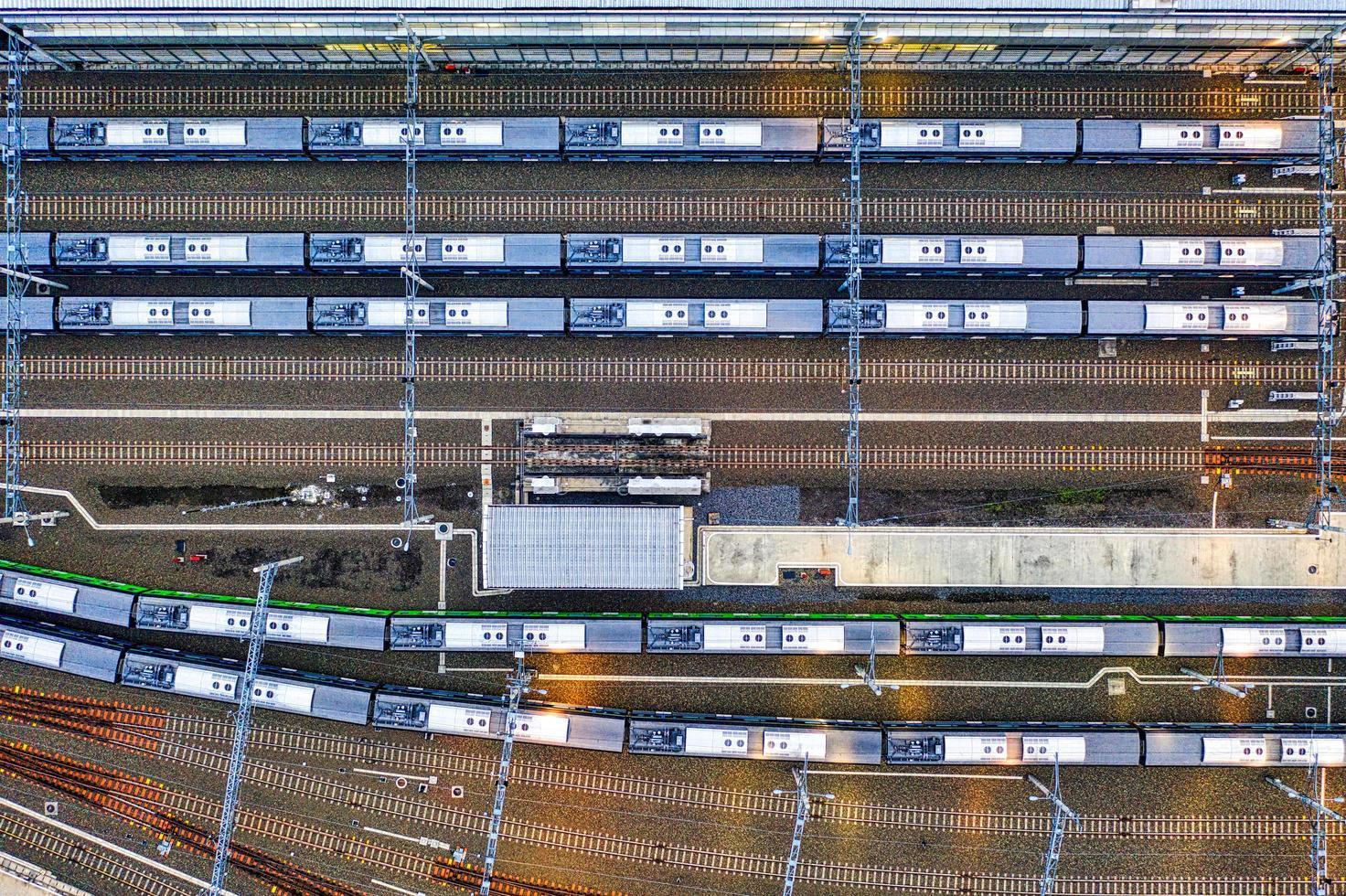 vista aérea de la estación de tren foto