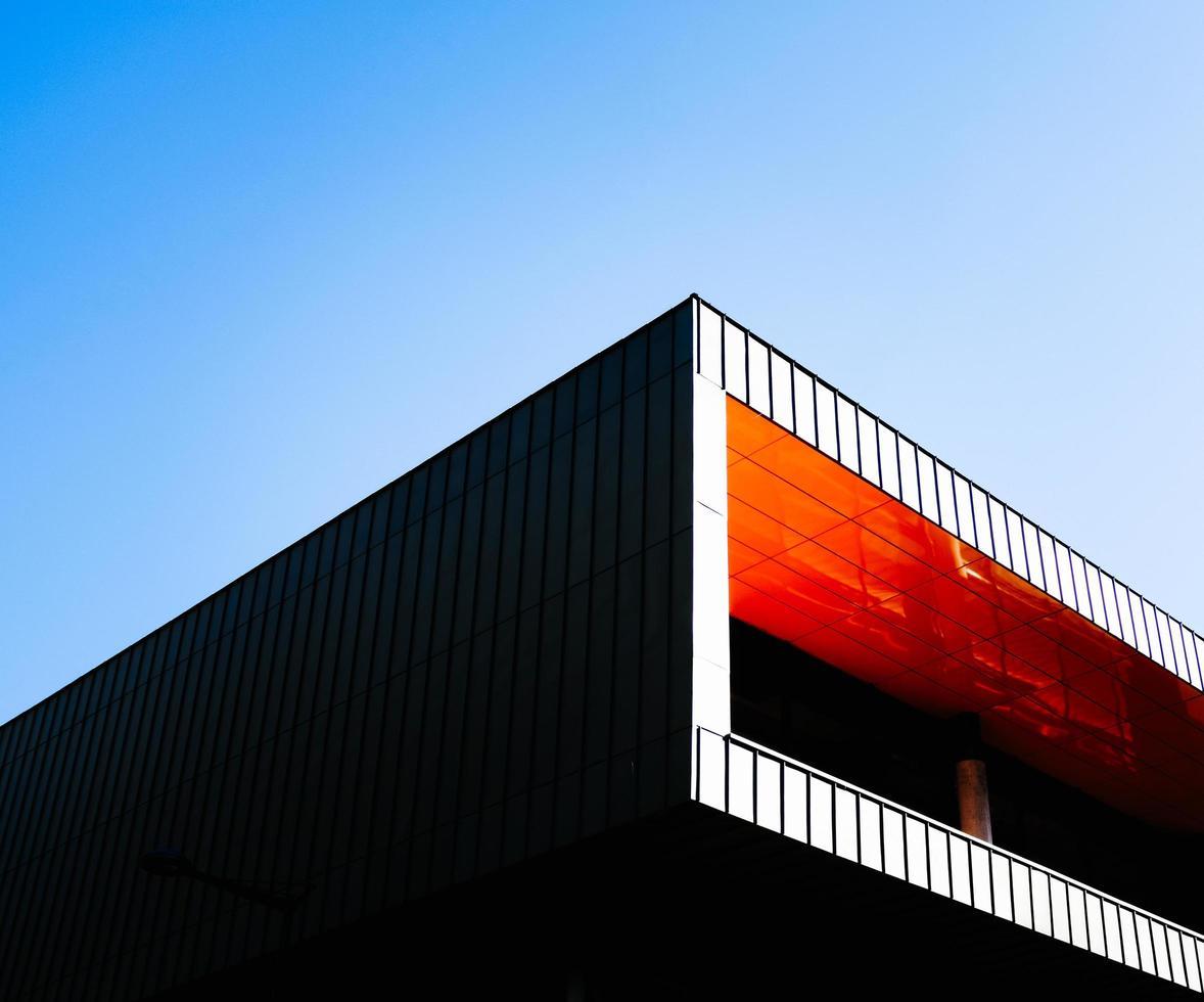 Concrete building under blue sky photo