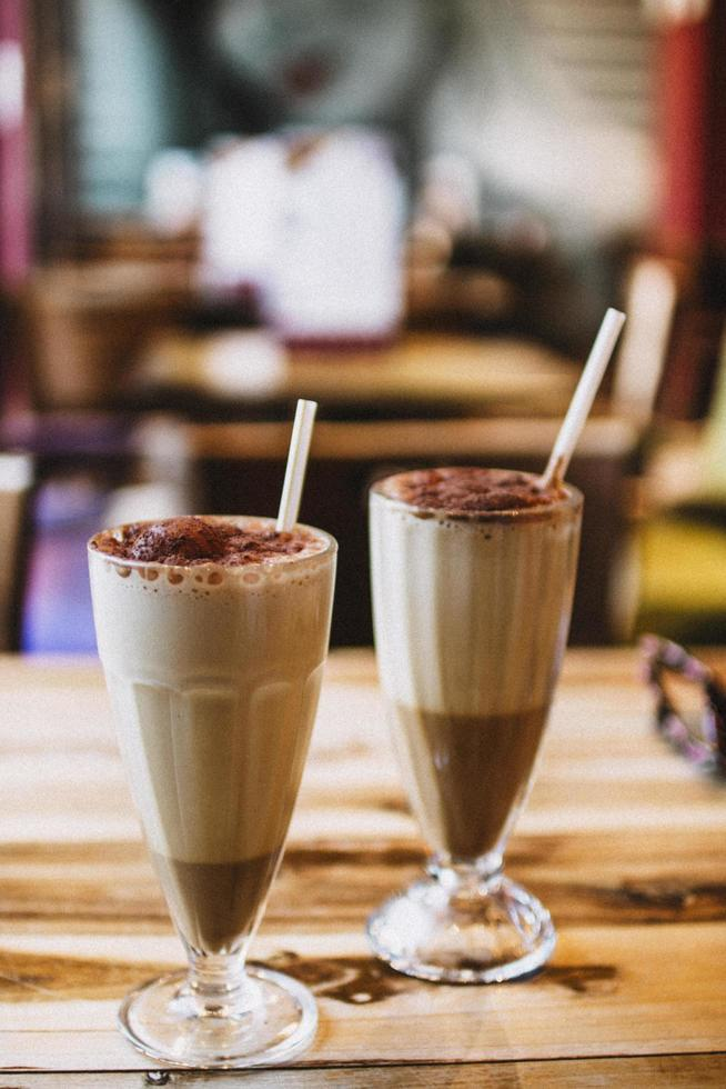 Two chocolate milkshakes photo