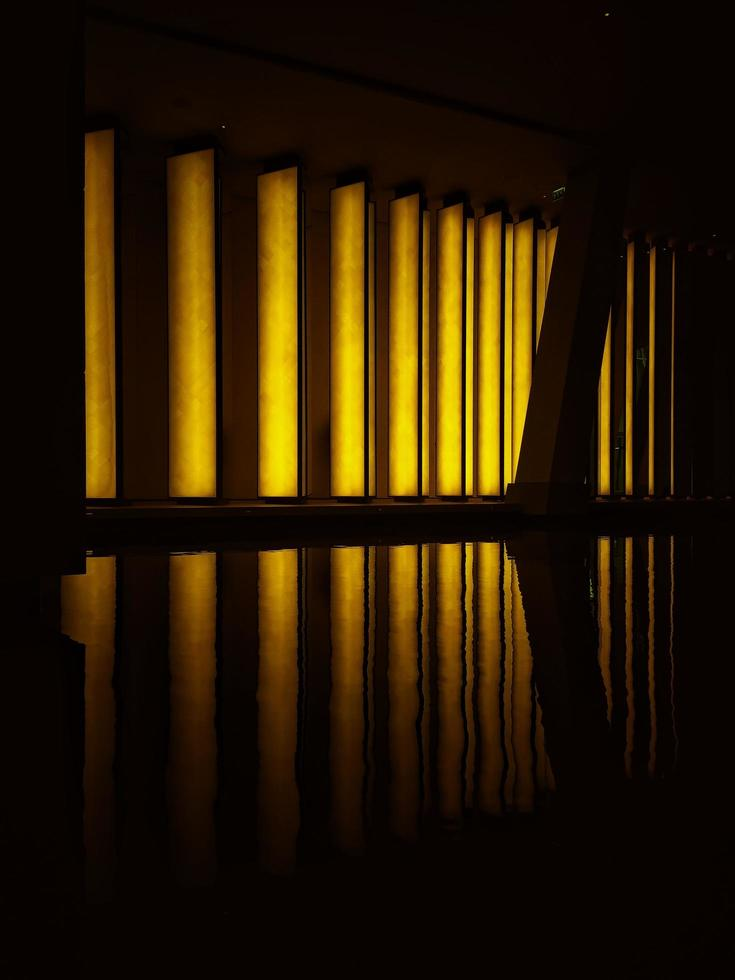 Window blinds with light reflection photo