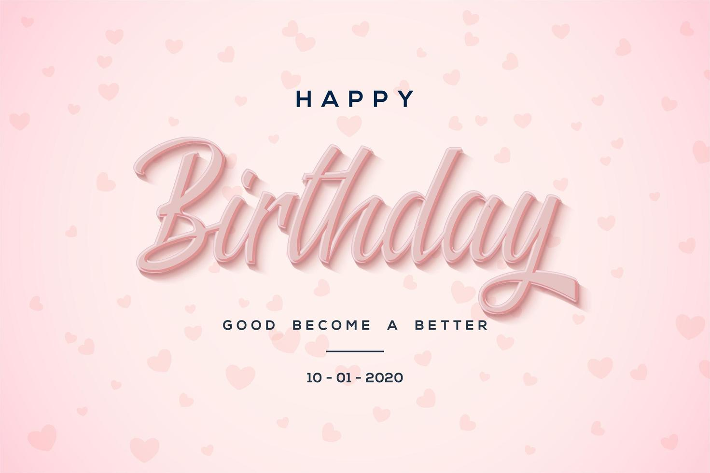 Fondo de cumpleaños con escritura rosa vector