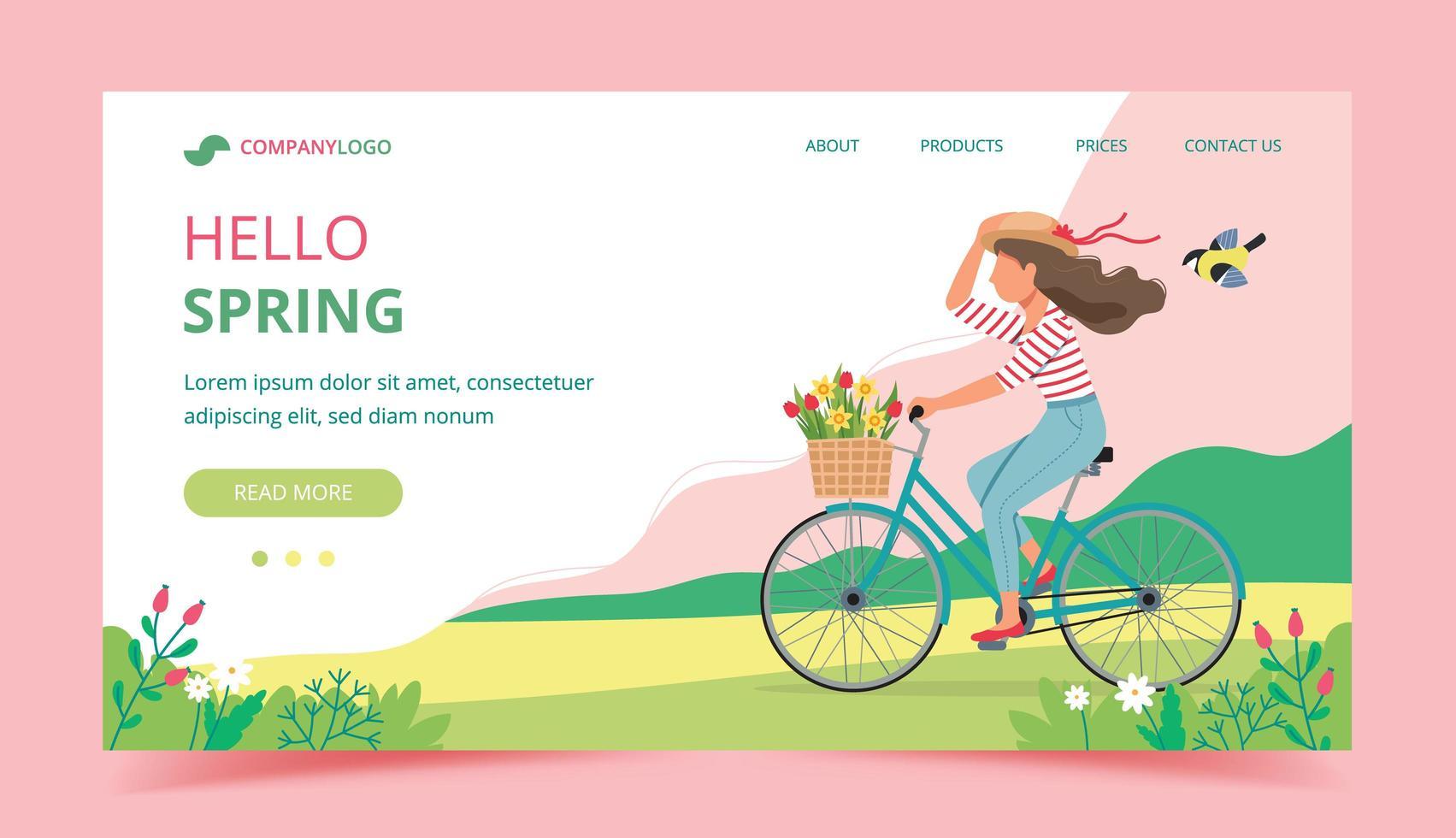 hola página de aterrizaje de primavera con mujer montando bicicleta vector