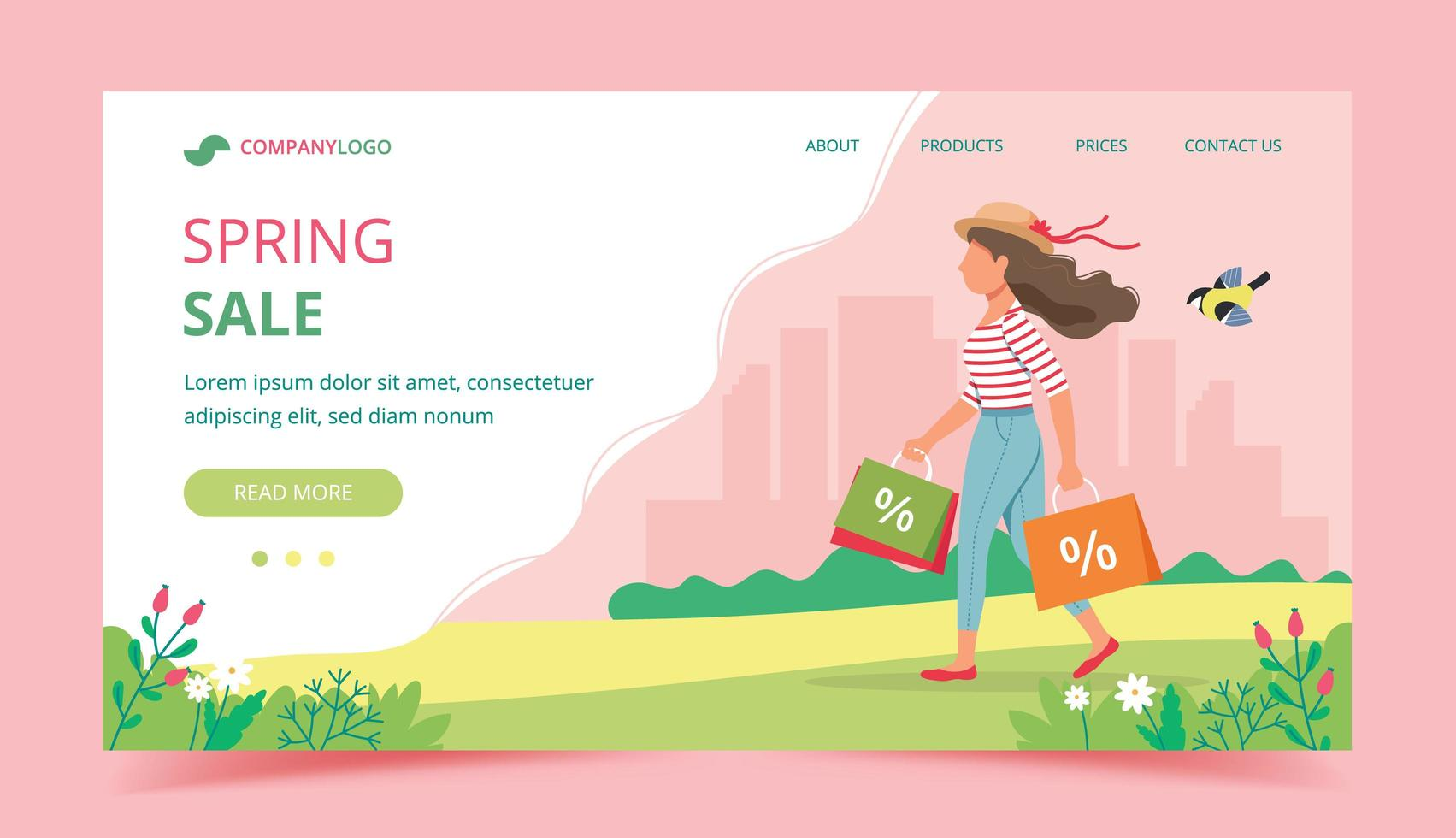 Spring sale concept landing page template vector