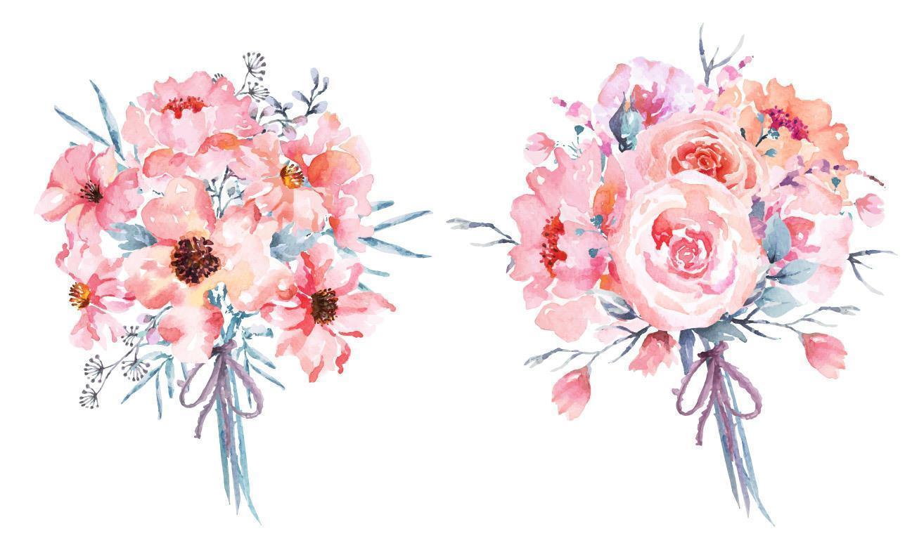 2 Pink Watercolor Flower Bouquets vector