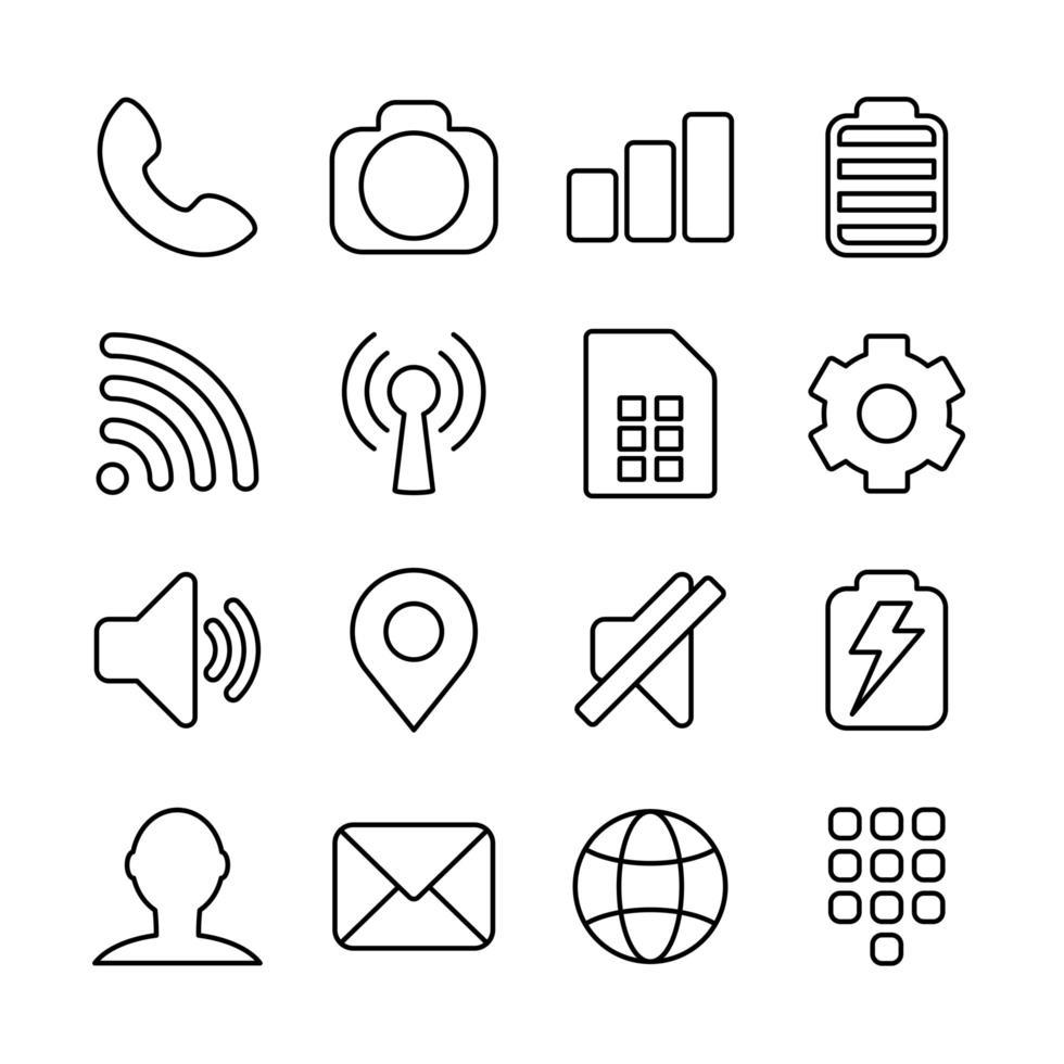 iconos de línea básicos para la interfaz del teléfono inteligente o diseño de temas vector