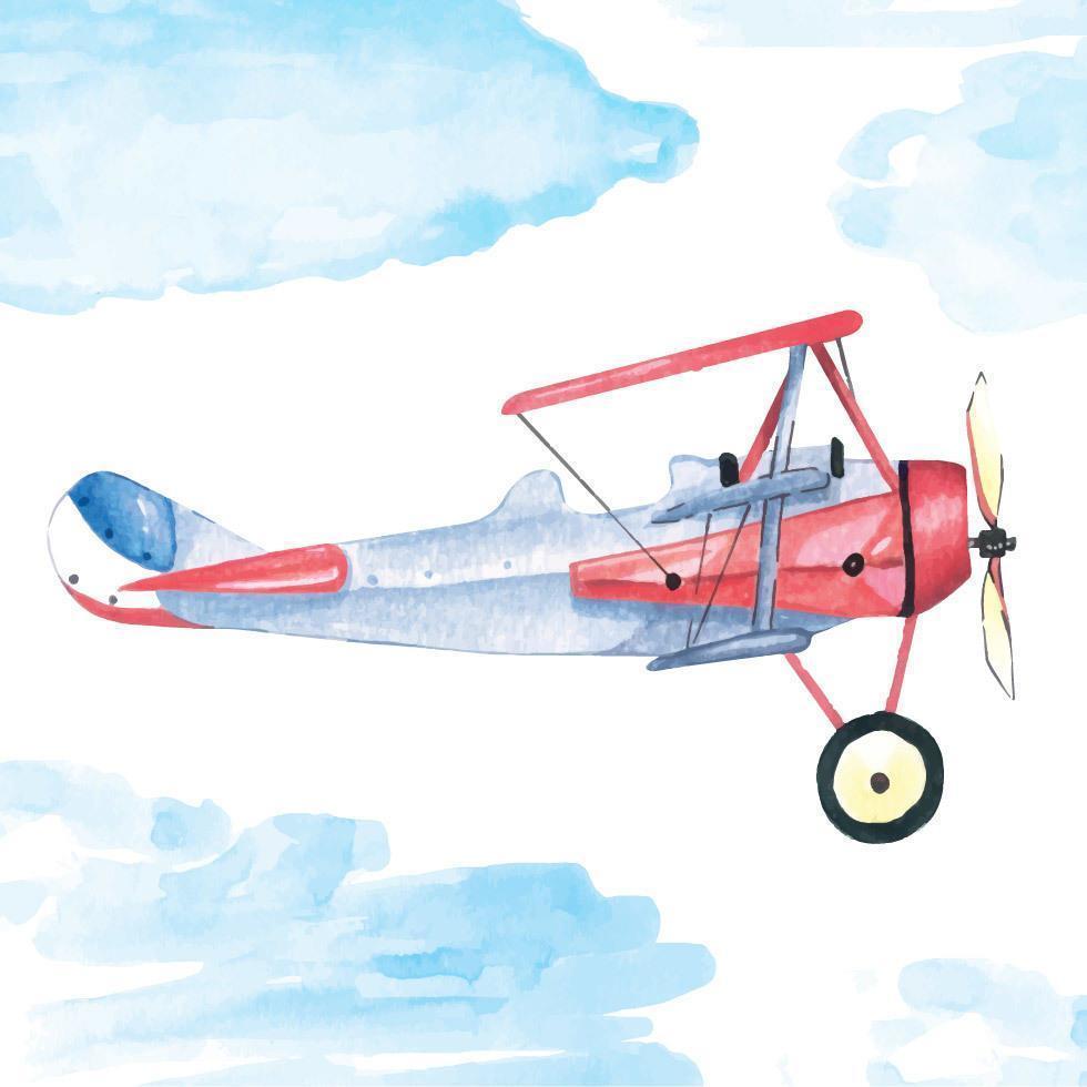 pintura de avión con acuarela vector