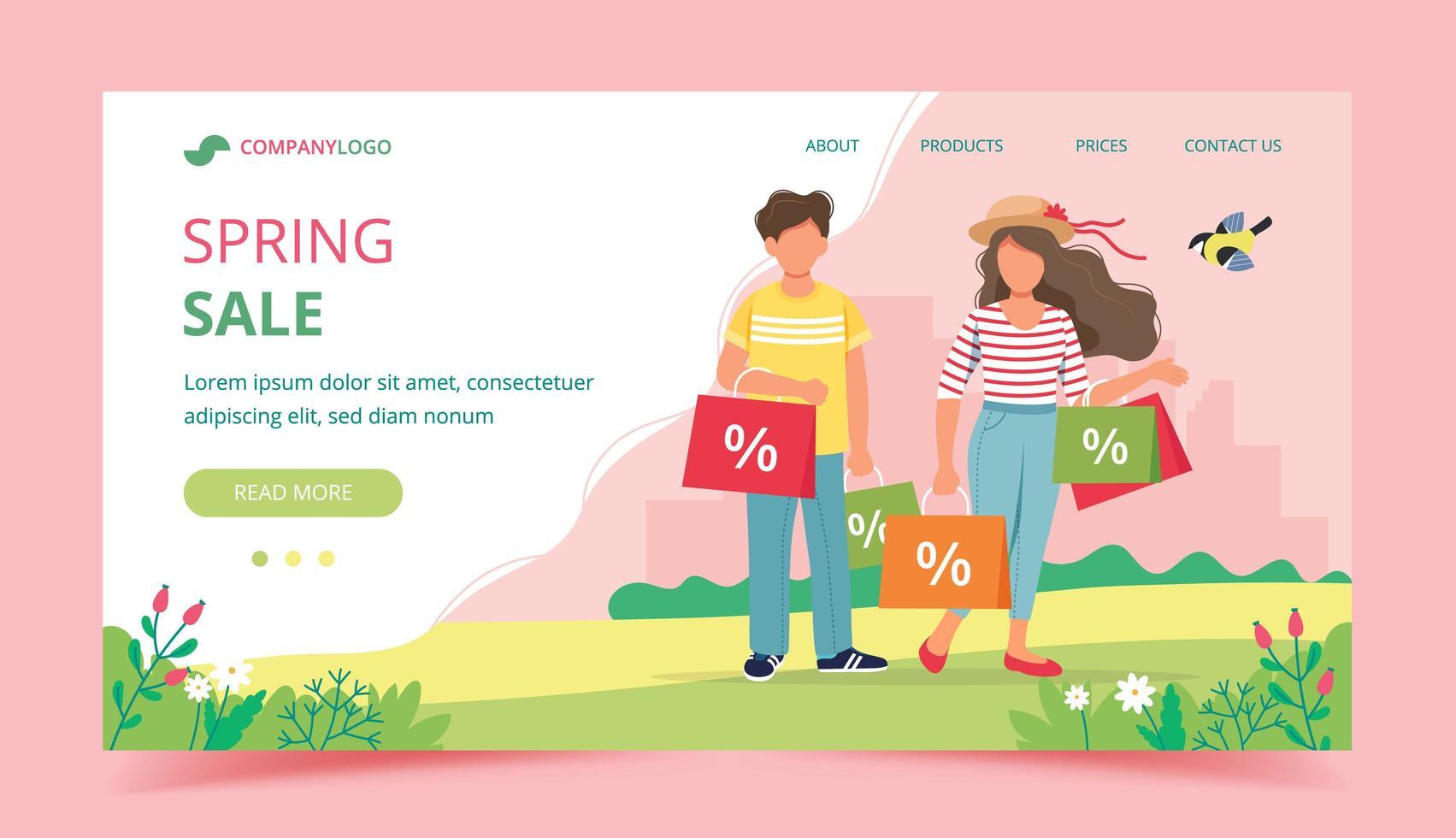 diseño de página de aterrizaje de venta de primavera con compras en pareja vector