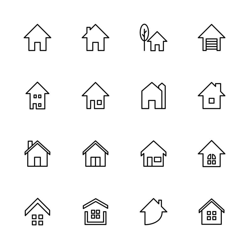 iconos de la casa relacionados con el conjunto inmobiliario vector