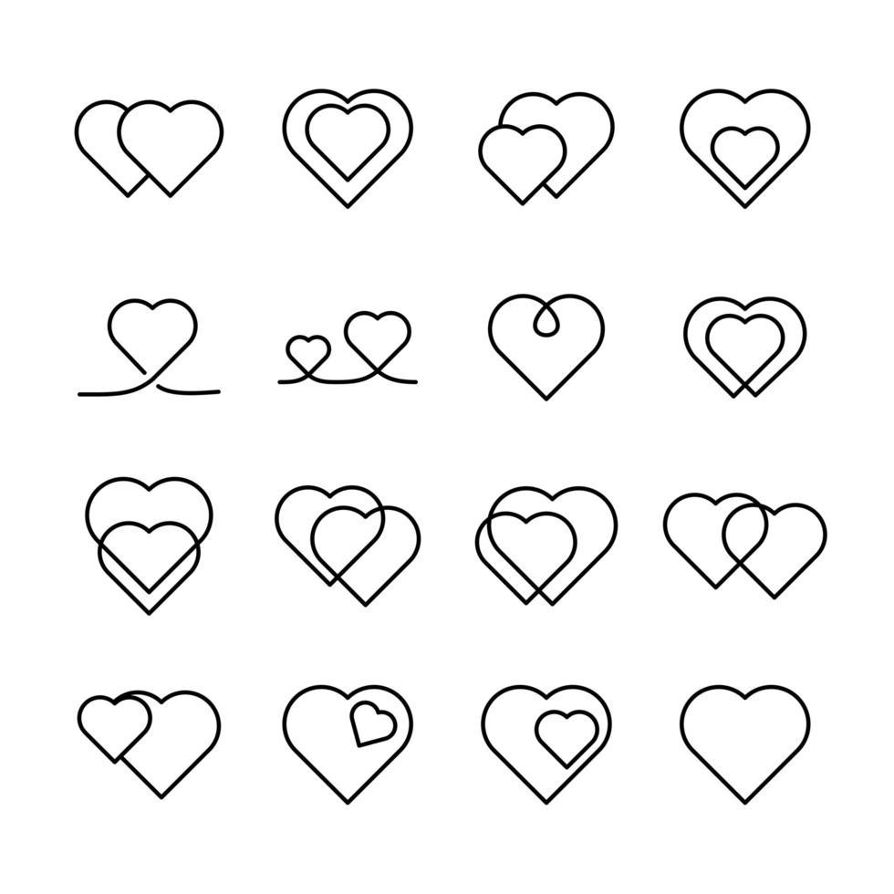 conjunto de iconos de línea colección de corazones vector