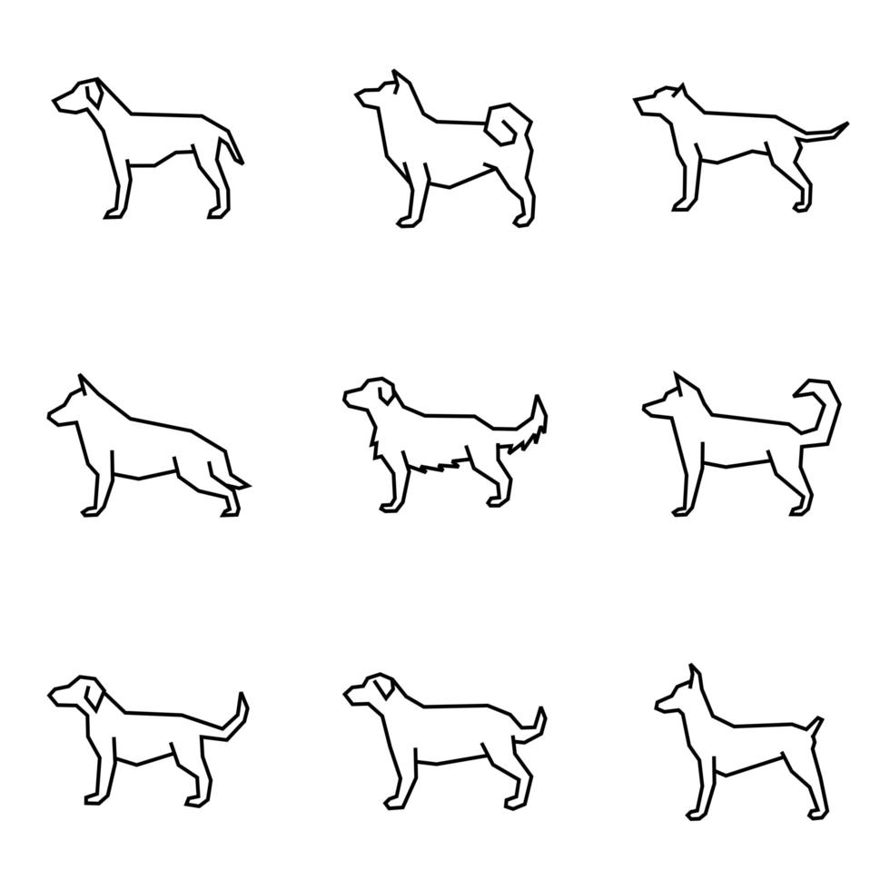 Dog Icon Collection Line Style vector