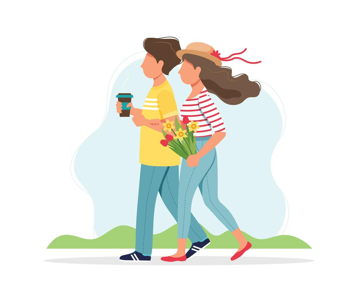 pareja caminando en primavera vector