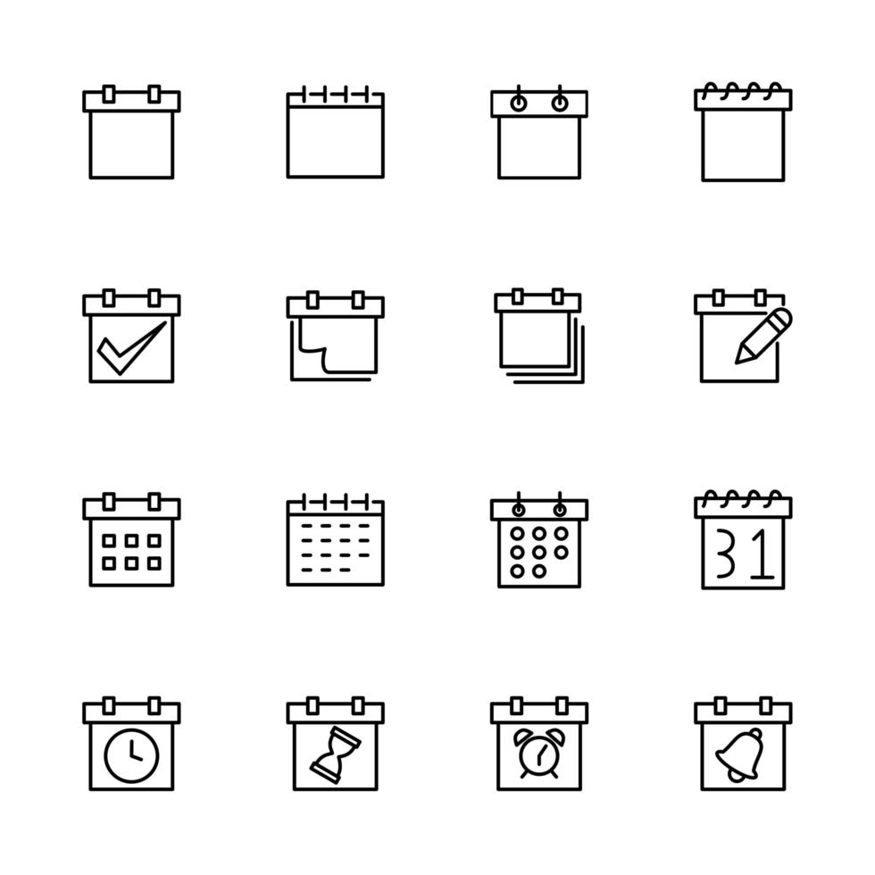 colección de iconos de línea para programación, calendario o fecha límite vector