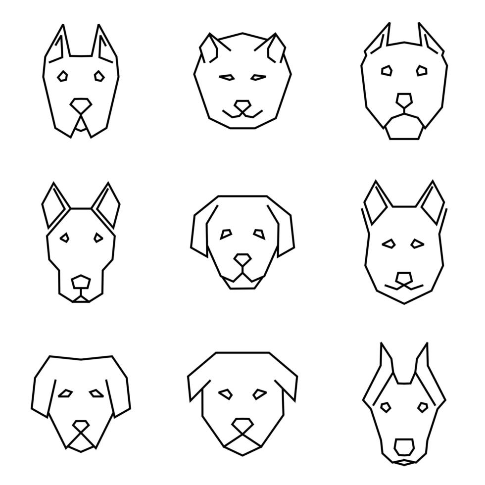 Straight Line Icon Set of Dog Faces vector