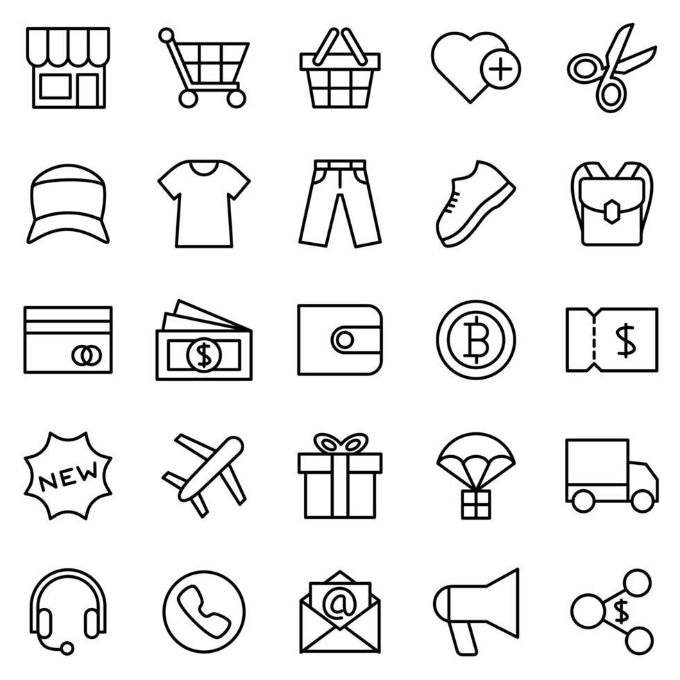 conjunto de iconos de línea para el sitio web de comercio electrónico de ropa vector